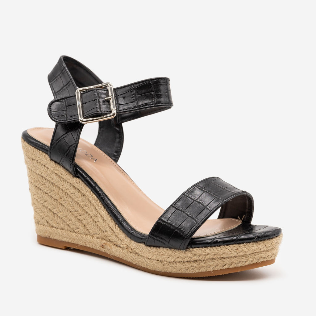 Women's Animal Print Espadrille Wedges - Top Moda - Black Crocodile / 5