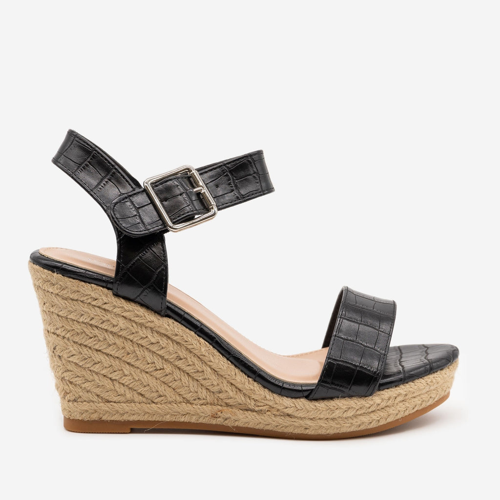 Women's Animal Print Espadrille Wedges - Top Moda