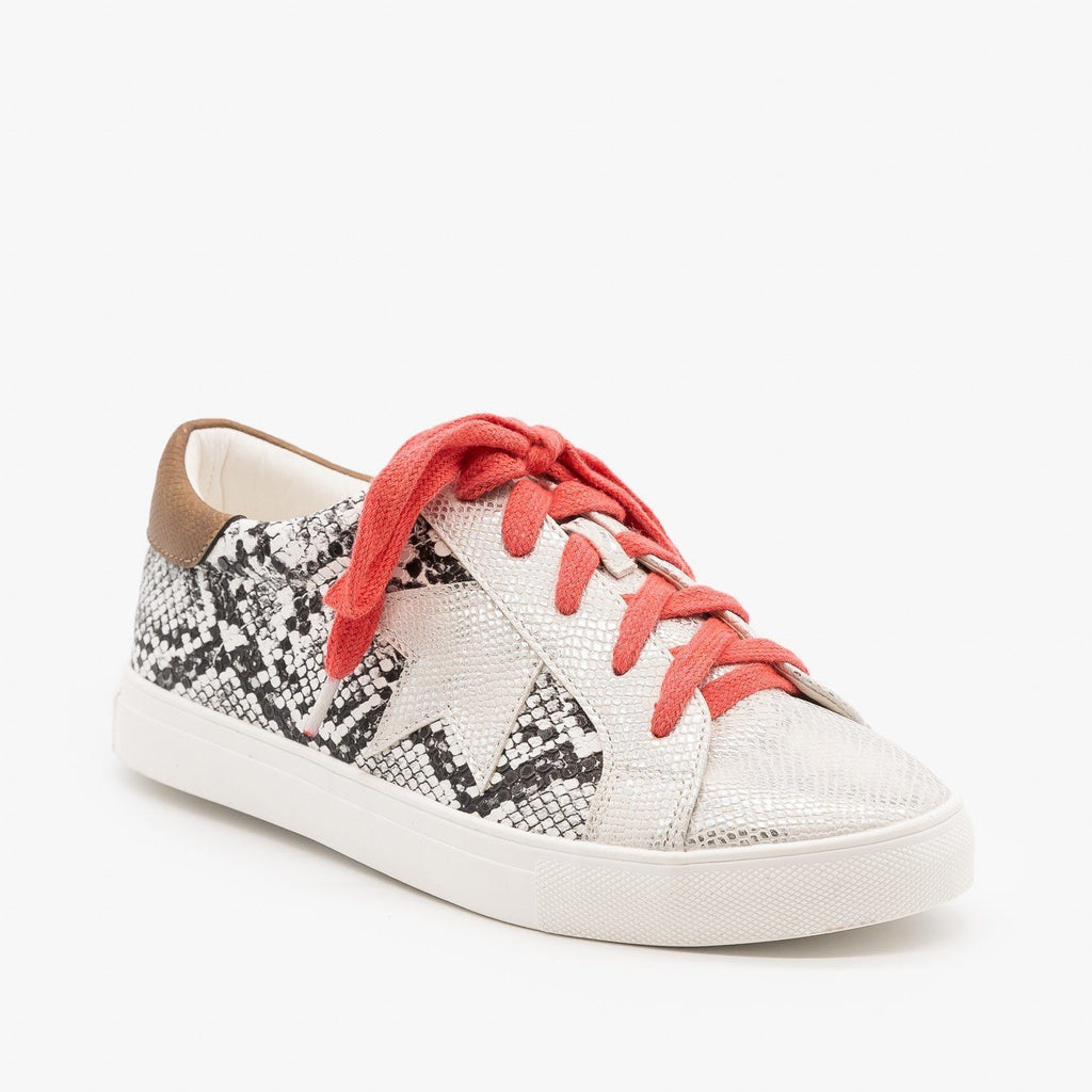 Womens Animal Print Fashion Sneakers - Mata - White Snake / 5