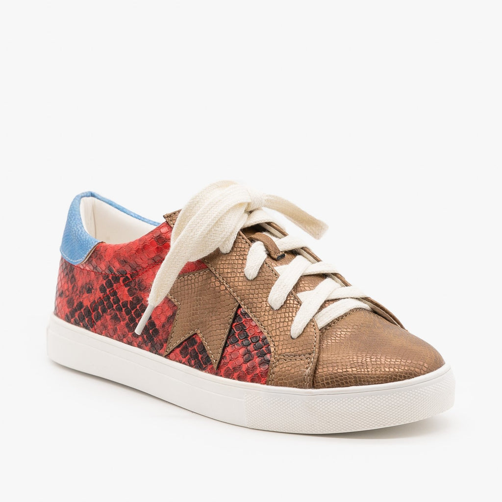 Womens Animal Print Fashion Sneakers - Mata