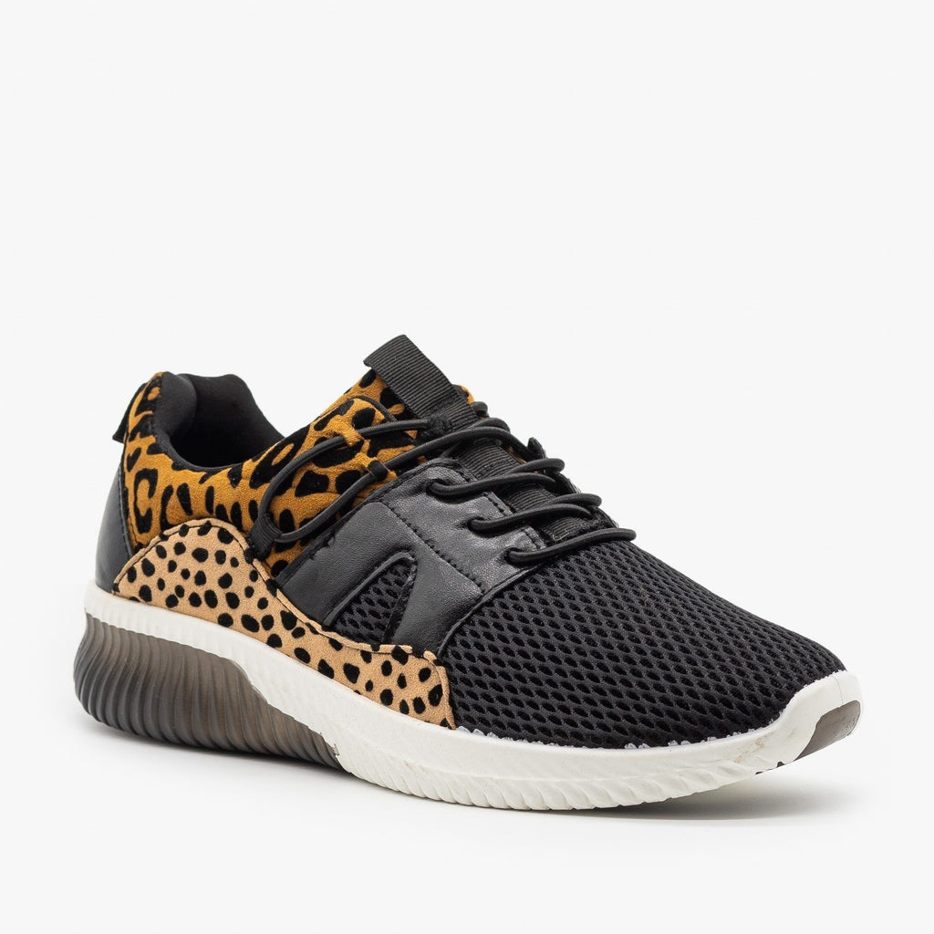 Womens Animal Print Fashion Sneakers - Qupid Shoes
