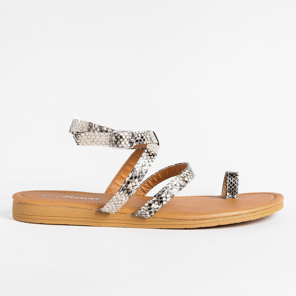 Womens Animal Print Fashionista Sandals - Forever - Snake / 5