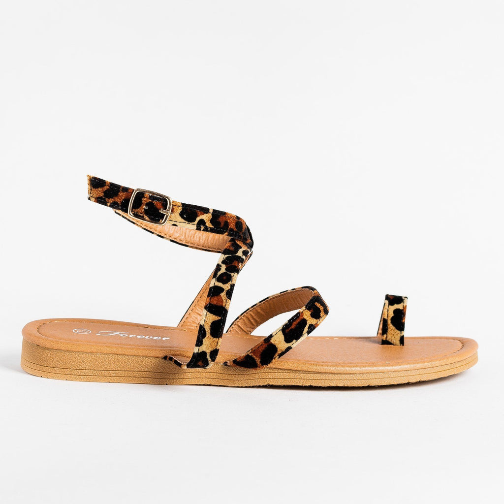 Womens Animal Print Fashionista Sandals - Forever - Leopard / 5