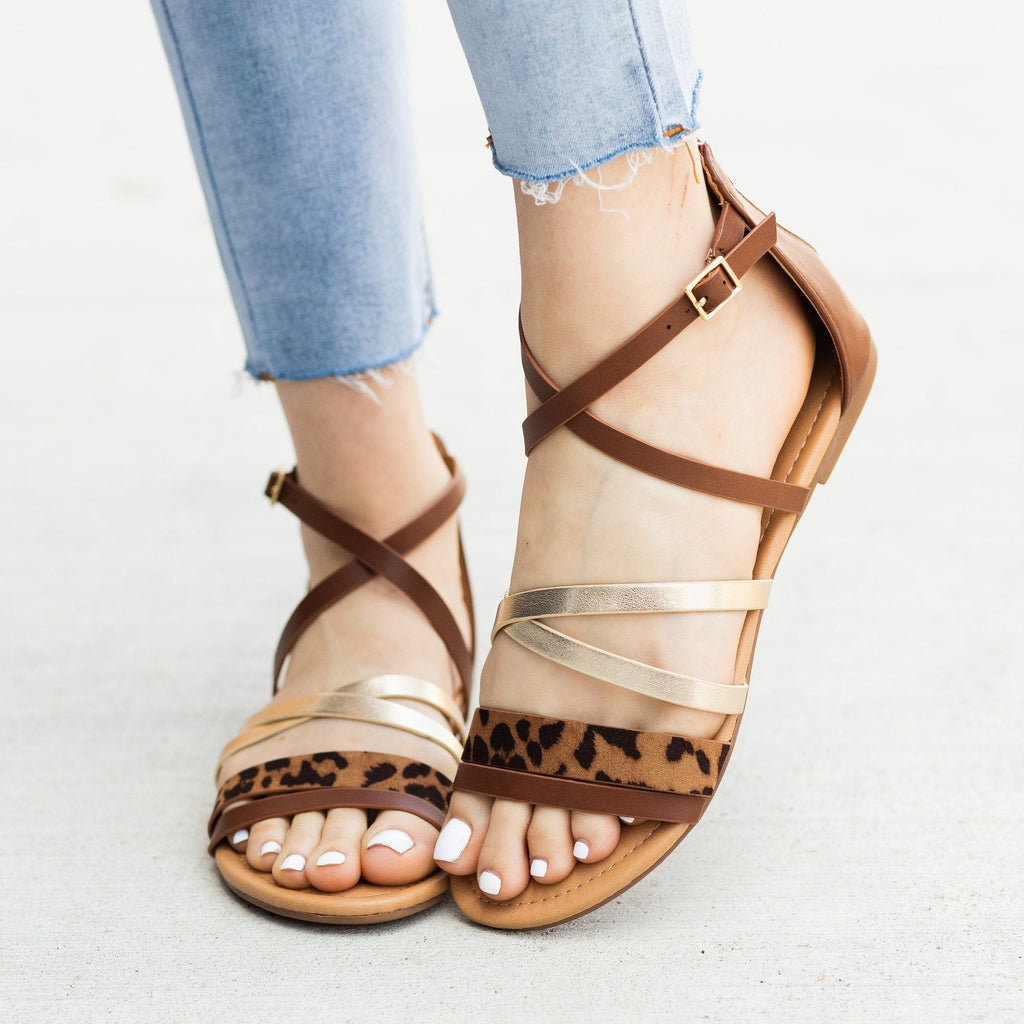 Womens Animal Print Gladiator Sandals - Soda Shoes