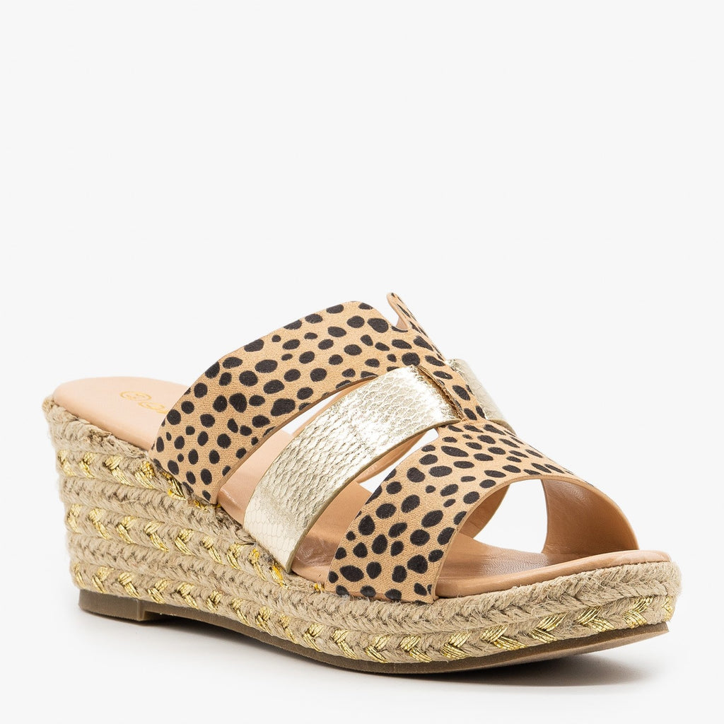 Womens Animal Print Gold Flecked Espadrille Wedges - Mata