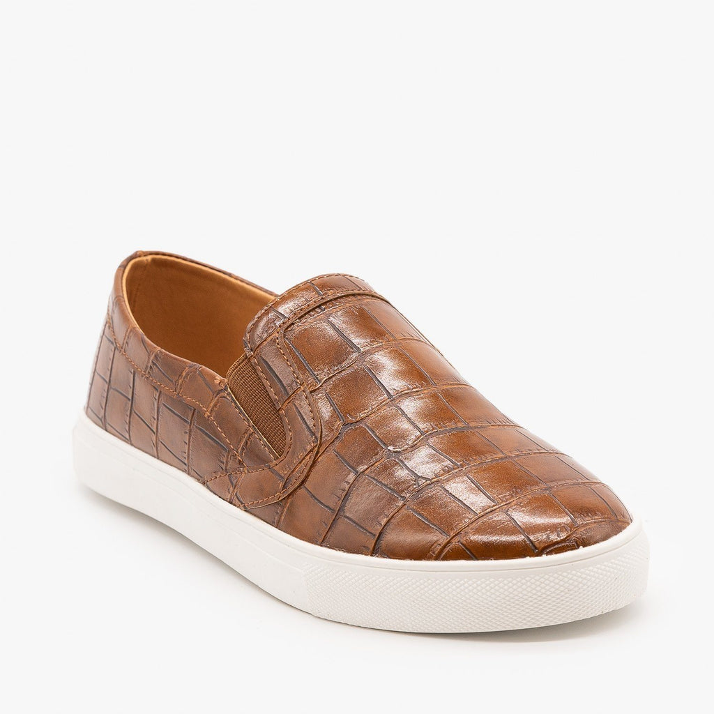 Womens Animal Print Slip On Sneakers - Mata - Tan Croc / 5