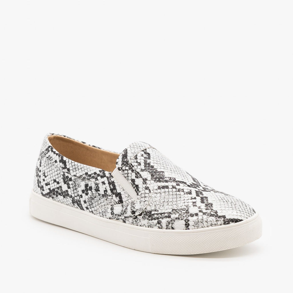 Womens Animal Print Slip On Sneakers - Mata - Snake / 5