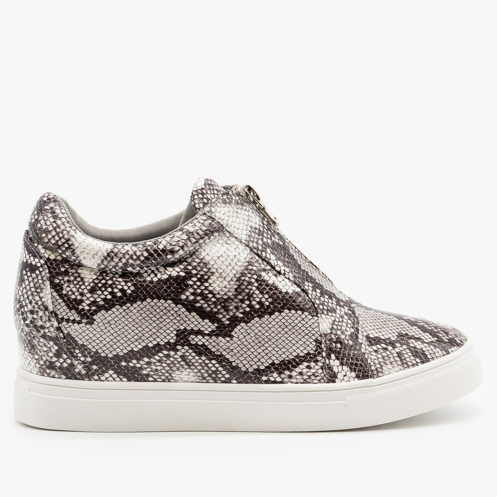 Womens Animal Print Sneaker Wedges - Forever - Snake / 5