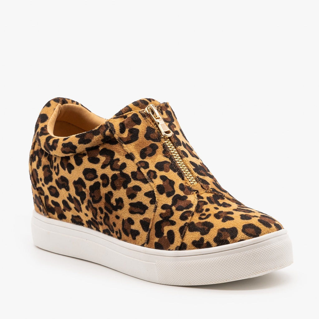 Womens Animal Print Sneaker Wedges - Forever