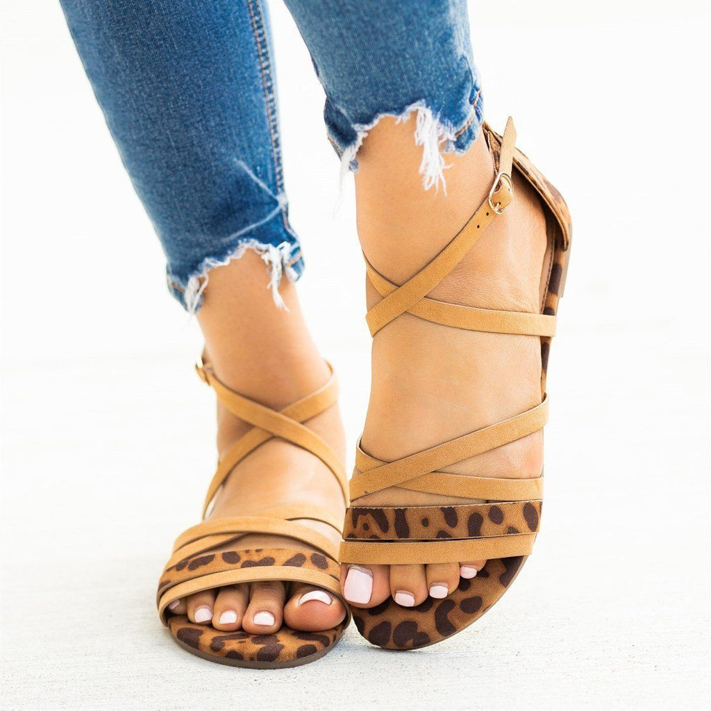 Womens Animal Print Strappy Criss Cross Sandals - Bamboo Shoes - Tan / 5