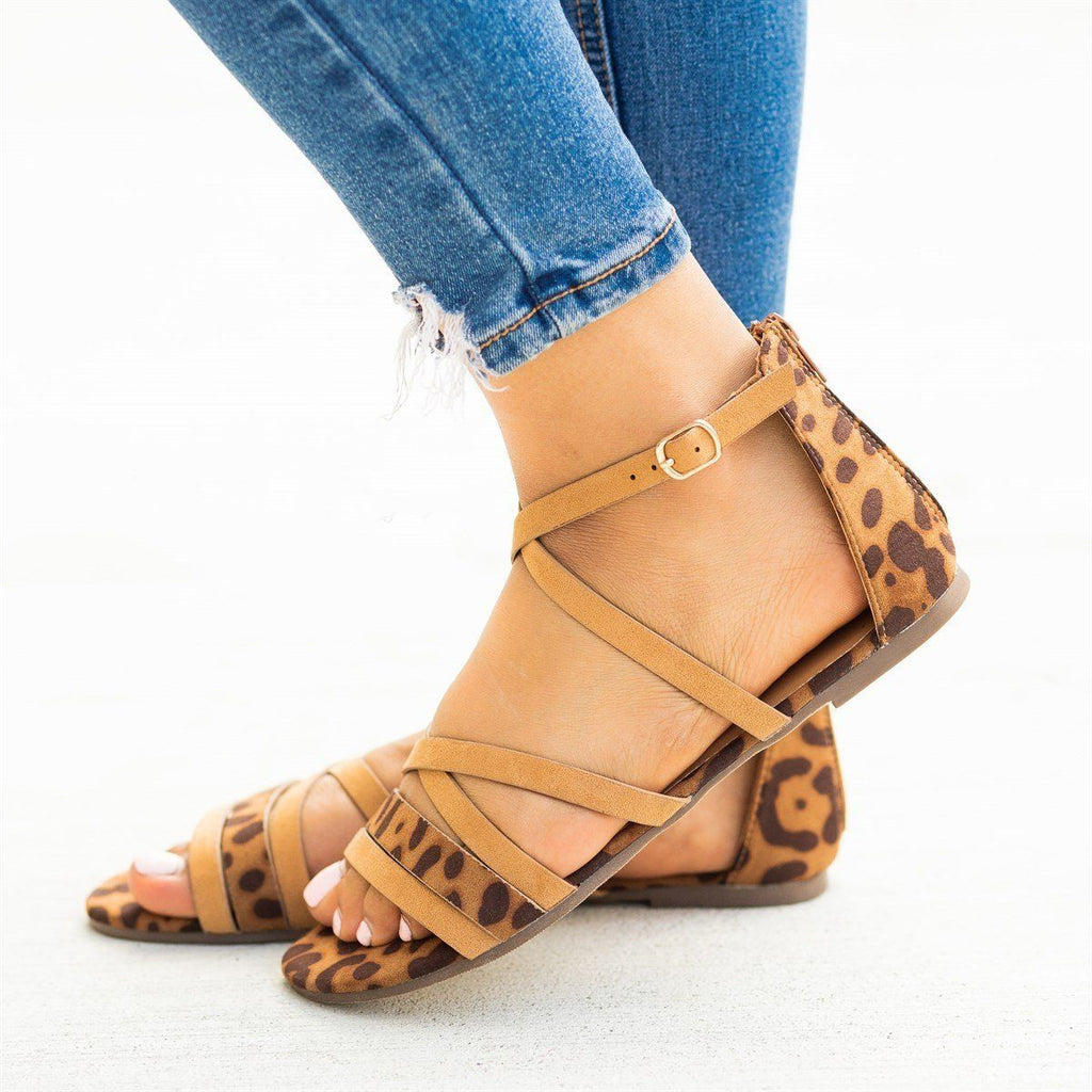 Womens Animal Print Strappy Criss Cross Sandals - Bamboo Shoes