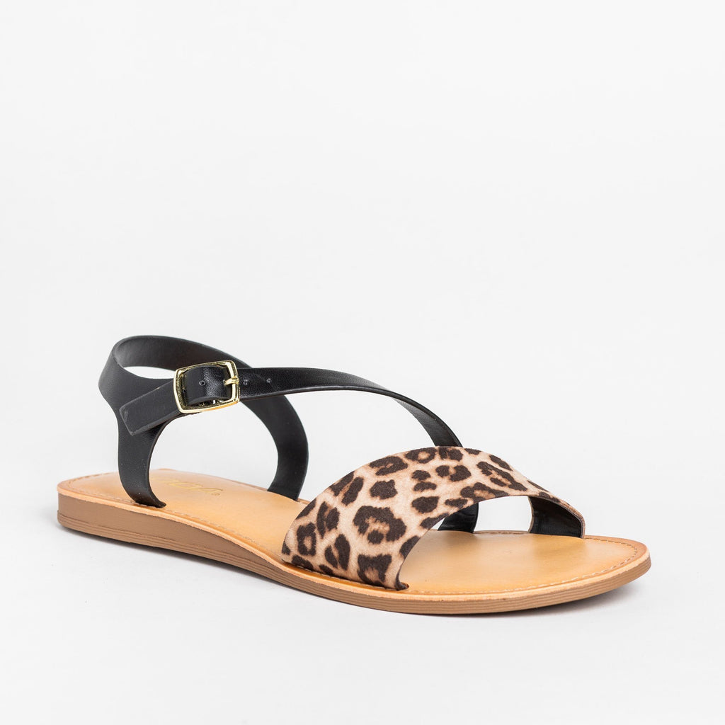 Womens Animal Print Wraparound Strap Sandals - Soda Shoes - Oatmeal Cheetah / 5