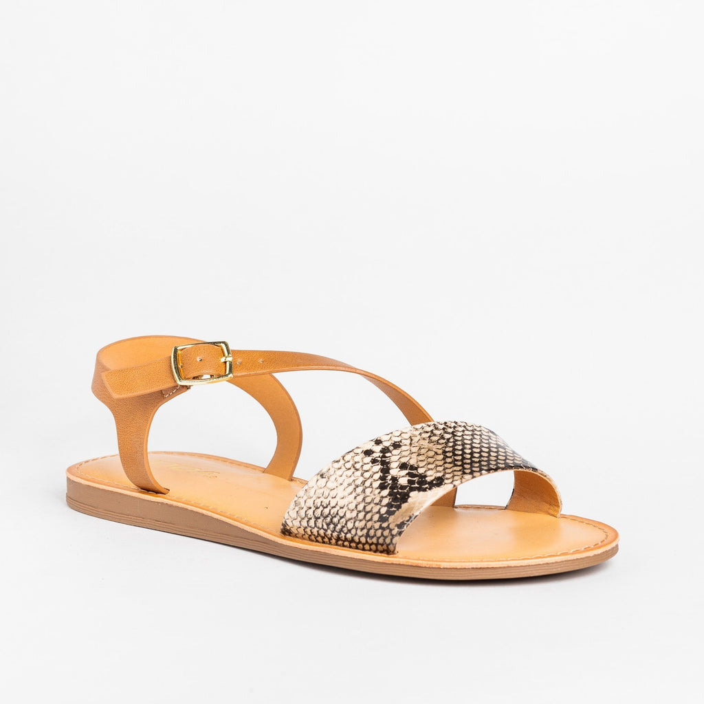 Womens Animal Print Wraparound Strap Sandals - Soda Shoes - Natural Python / 5