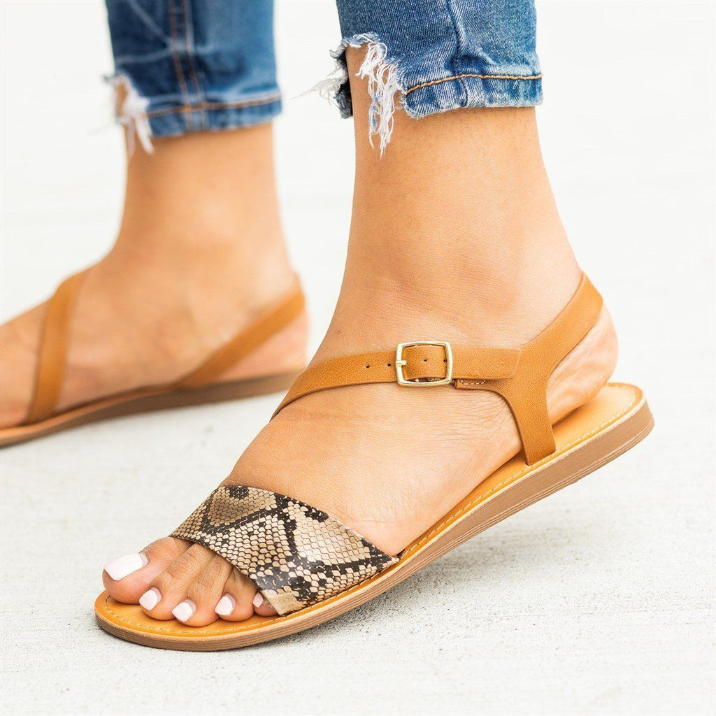 Womens Animal Print Wraparound Strap Sandals - Soda Shoes