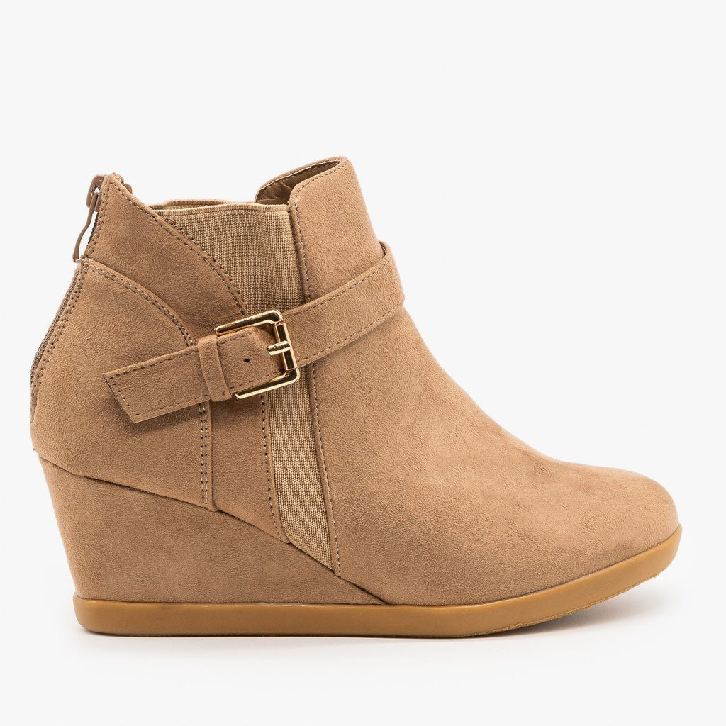 Womens Ankle Buckle Wedges - Forever - Taupe / 5