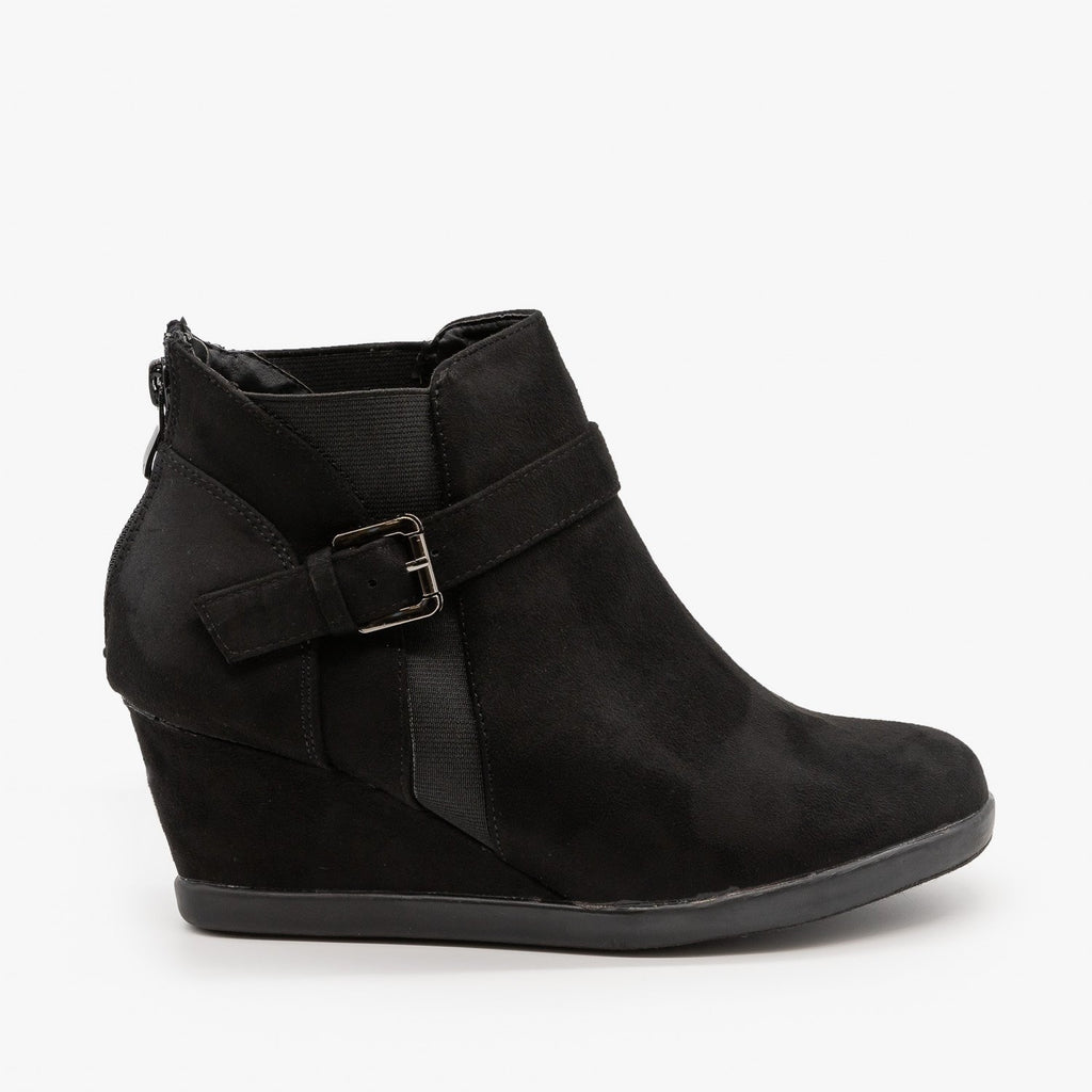 Womens Ankle Buckle Wedges - Forever - Black / 5