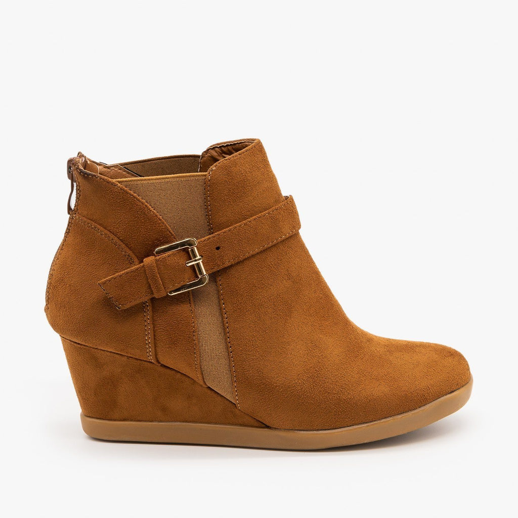 Womens Ankle Buckle Wedges - Forever - Tan / 5