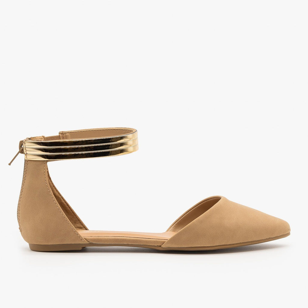 Womens Ankle Cuff dOrsay Flats - Bamboo Shoes - Natural / 5