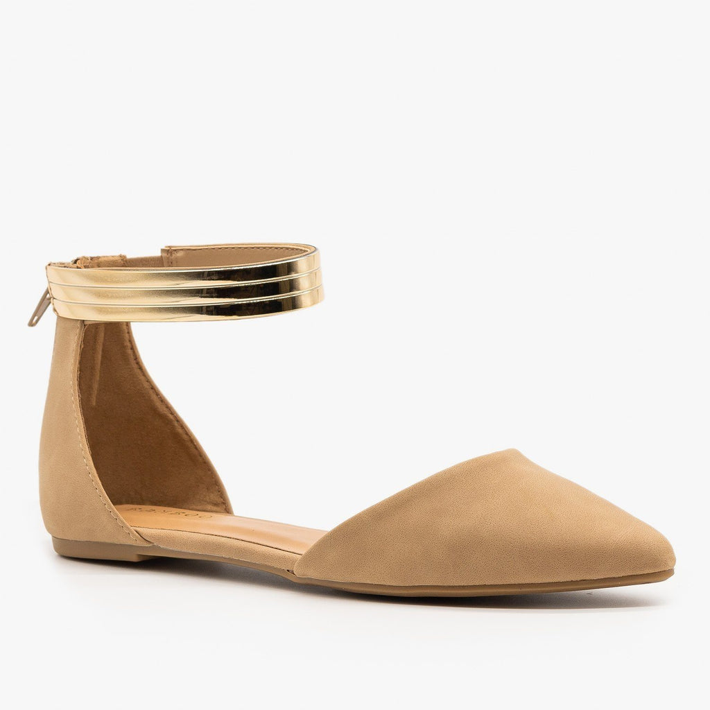 Womens Ankle Cuff dOrsay Flats - Bamboo Shoes