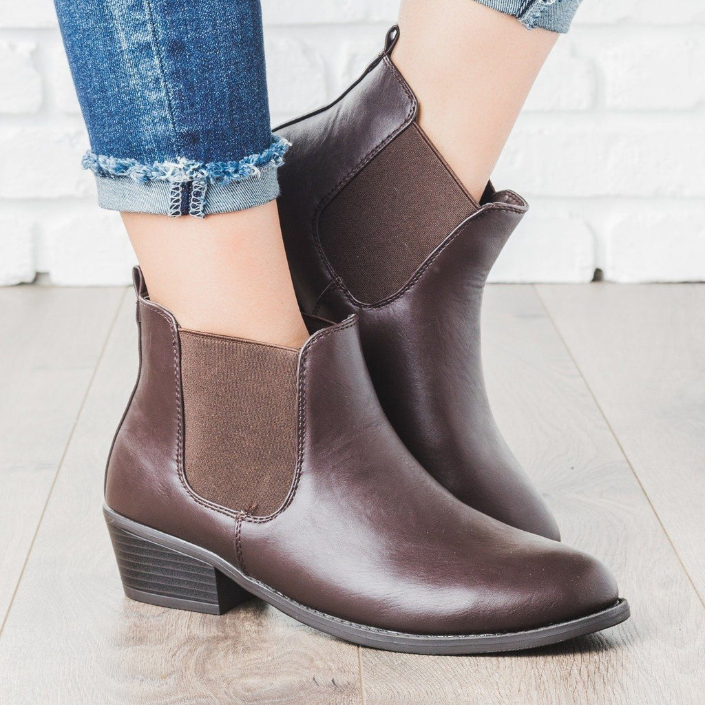 Womens Ankle Riding Bootie - Refresh - Brown / 5