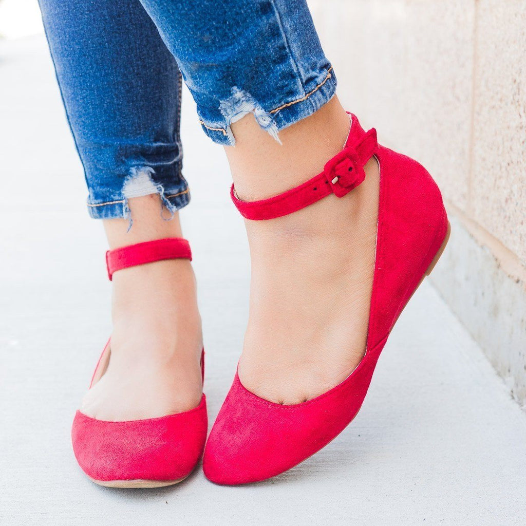 Womens Ankle Strap Ballet Flats - Refresh - Red / 7