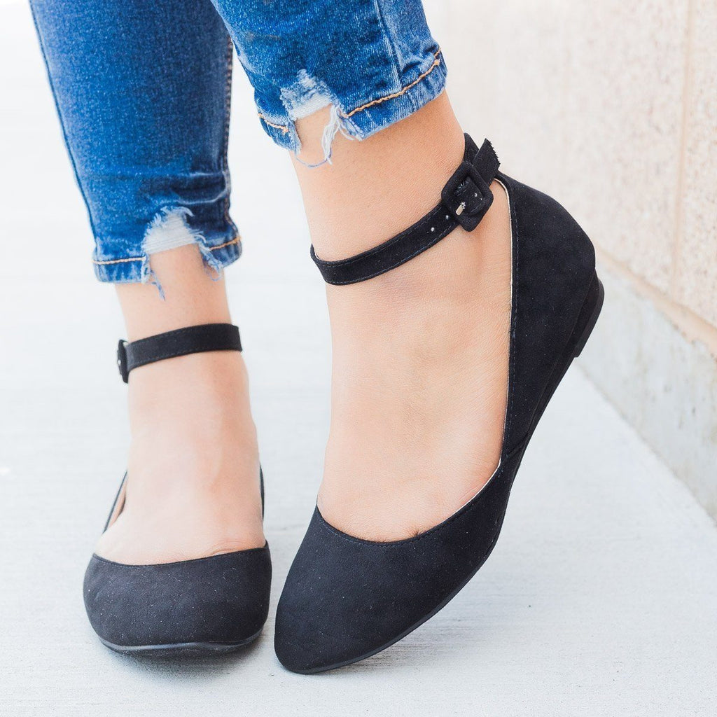 Womens Ankle Strap Ballet Flats - Refresh - Black / 5