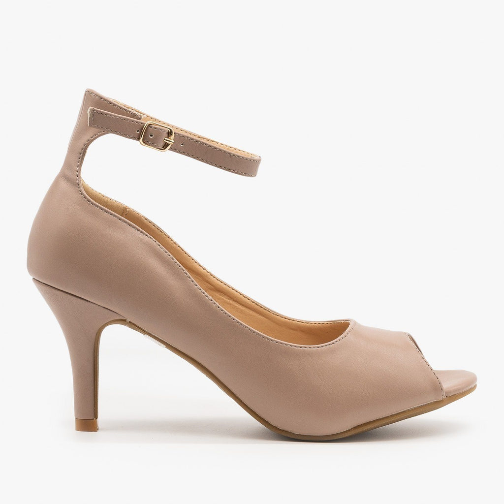 Womens Ankle Strap Peep Toe Heels - Refresh - Taupe / 5