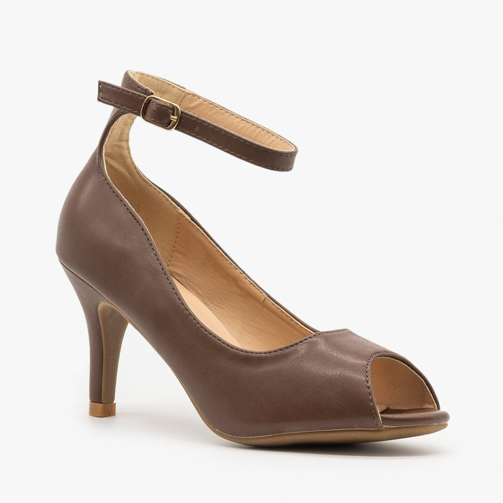 Womens Ankle Strap Peep Toe Heels - Refresh