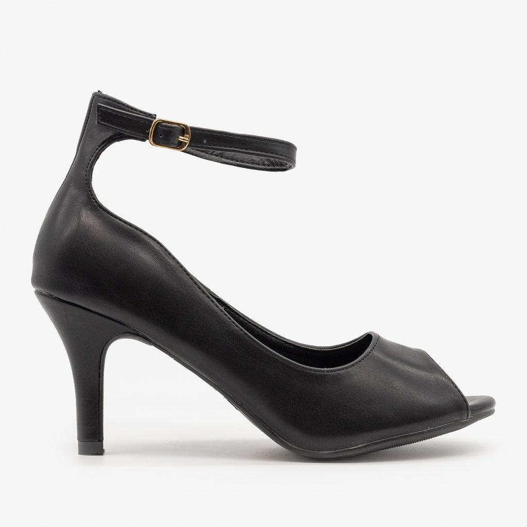Womens Ankle Strap Peep Toe Heels - Refresh - Black / 5