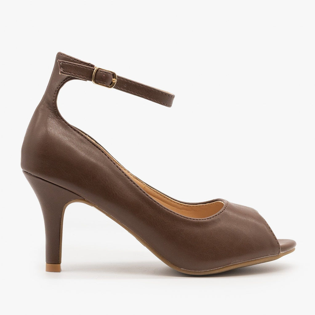 Womens Ankle Strap Peep Toe Heels - Refresh - Brown / 5