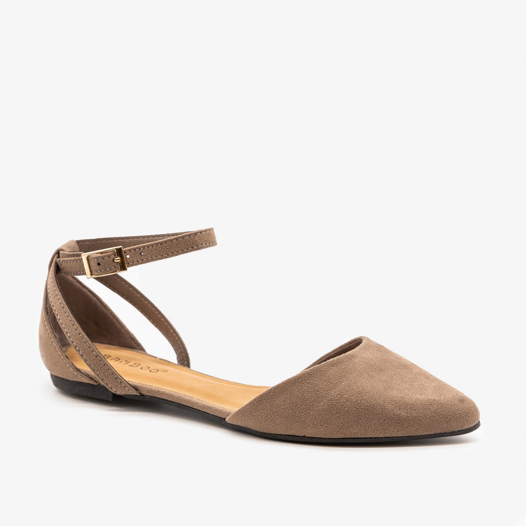 Womens Ankle Strap Pointed Flats - Bamboo Shoes - Taupe / 5
