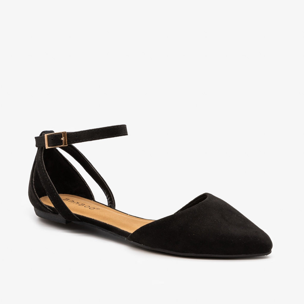 Womens Ankle Strap Pointed Flats - Bamboo Shoes - Black / 5