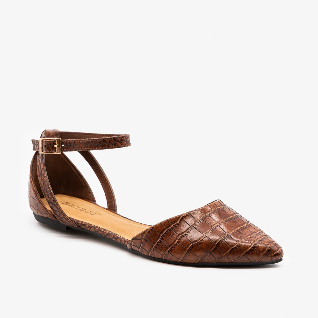 Womens Ankle Strap Pointed Flats - Bamboo Shoes - Brown Crocodile / 5