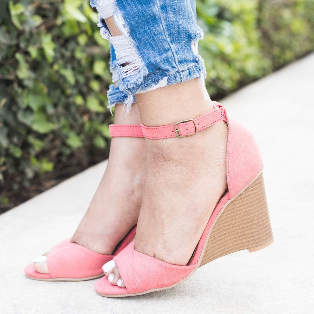 Womens Ankle Strap Wedges - Qupid Shoes - Coral Rose / 5
