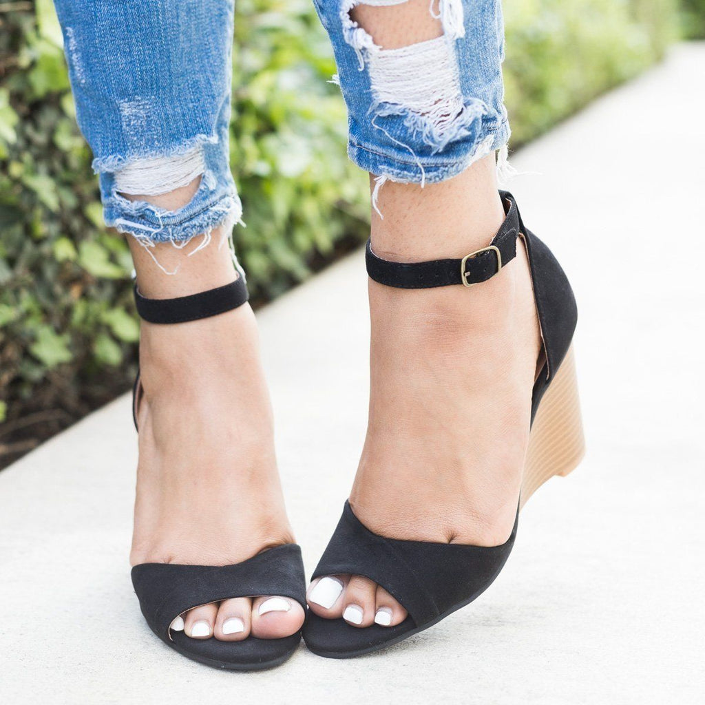 Ankle Strap Wedges - Qupid Shoes Brody