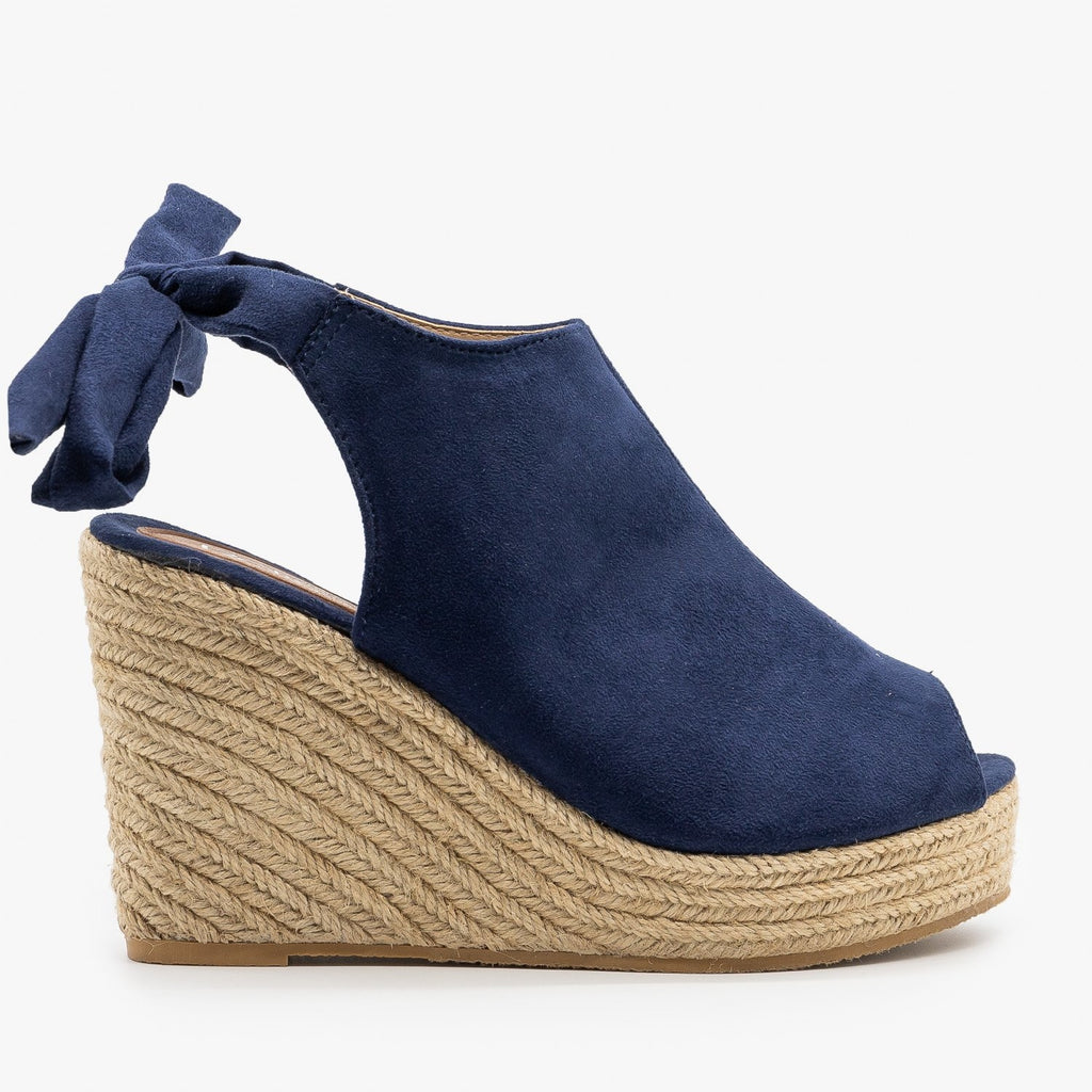 Womens Ankle Tie Espadrille Wedges - Refresh - Navy / 5