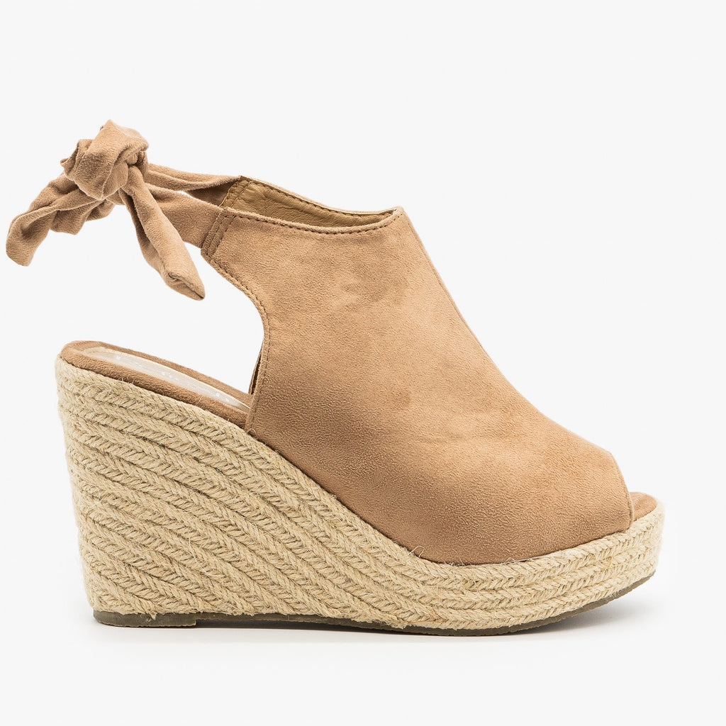Womens Ankle Tie Espadrille Wedges - Refresh - Taupe / 5