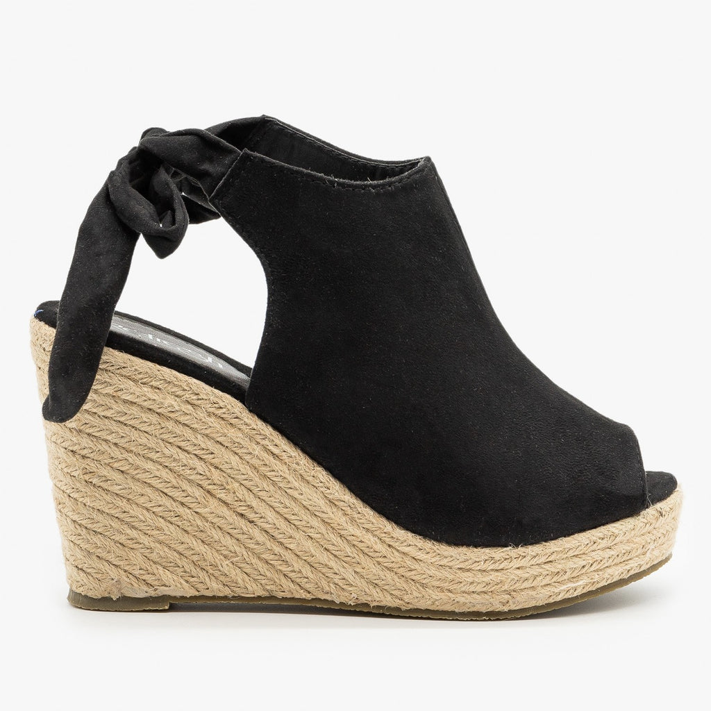 Womens Ankle Tie Espadrille Wedges - Refresh - Black / 5