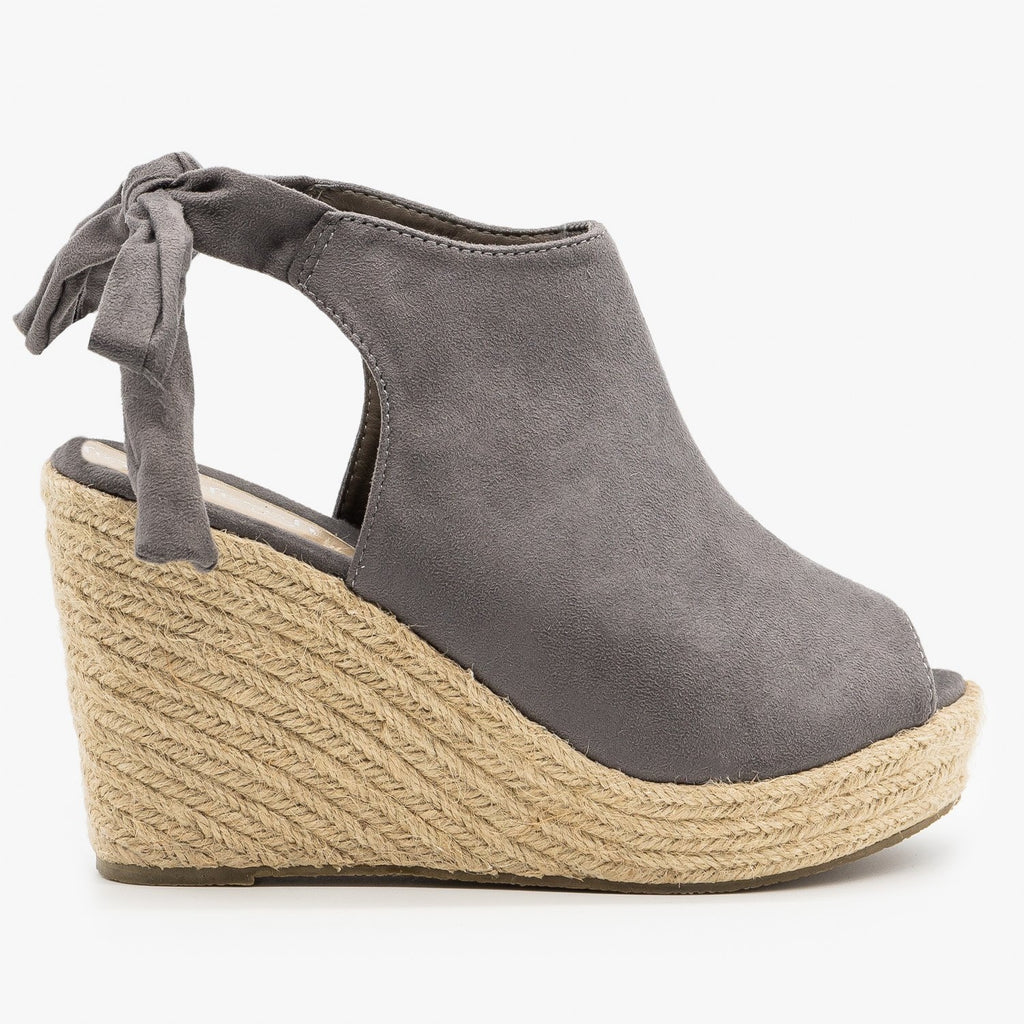 Womens Ankle Tie Espadrille Wedges - Refresh - Gray / 5