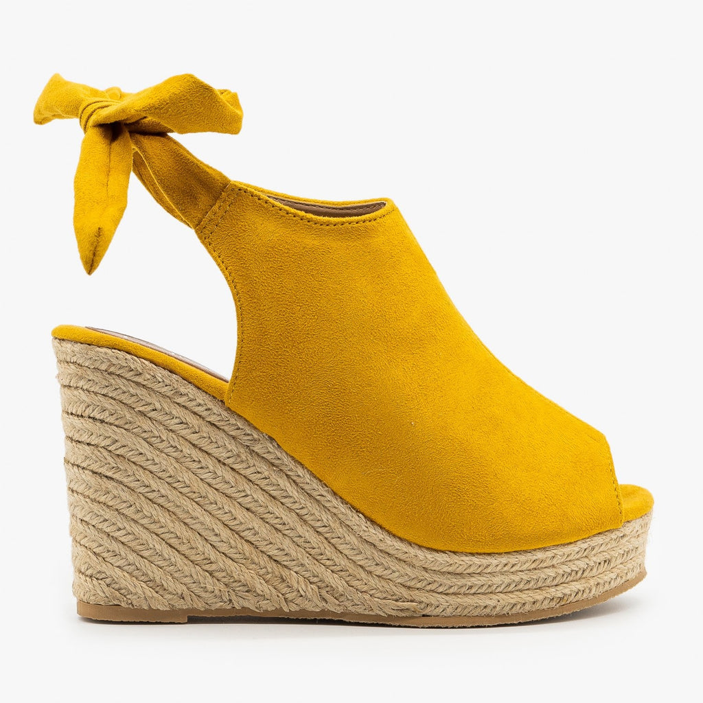 Womens Ankle Tie Espadrille Wedges - Refresh - Yellow / 5