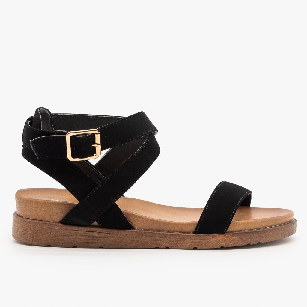 Womens Ankle Wrapped Classic Sandals - Top Moda - Black / 5