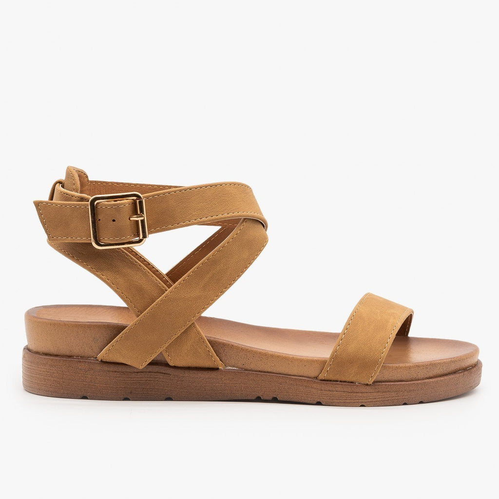 Womens Ankle Wrapped Classic Sandals - Top Moda - Tan / 5