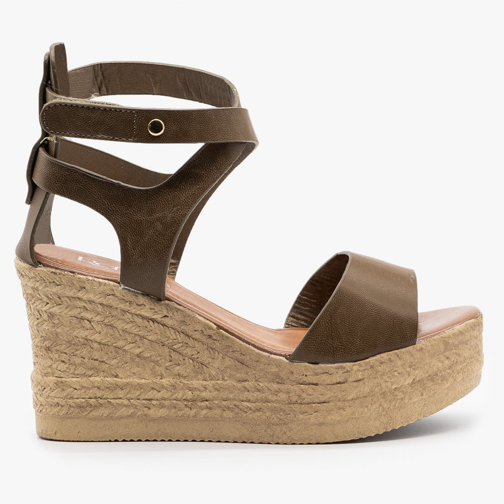 Womens Ankle Wrapped Espadrille Wedge Sandals - Refresh - Mocha / 5