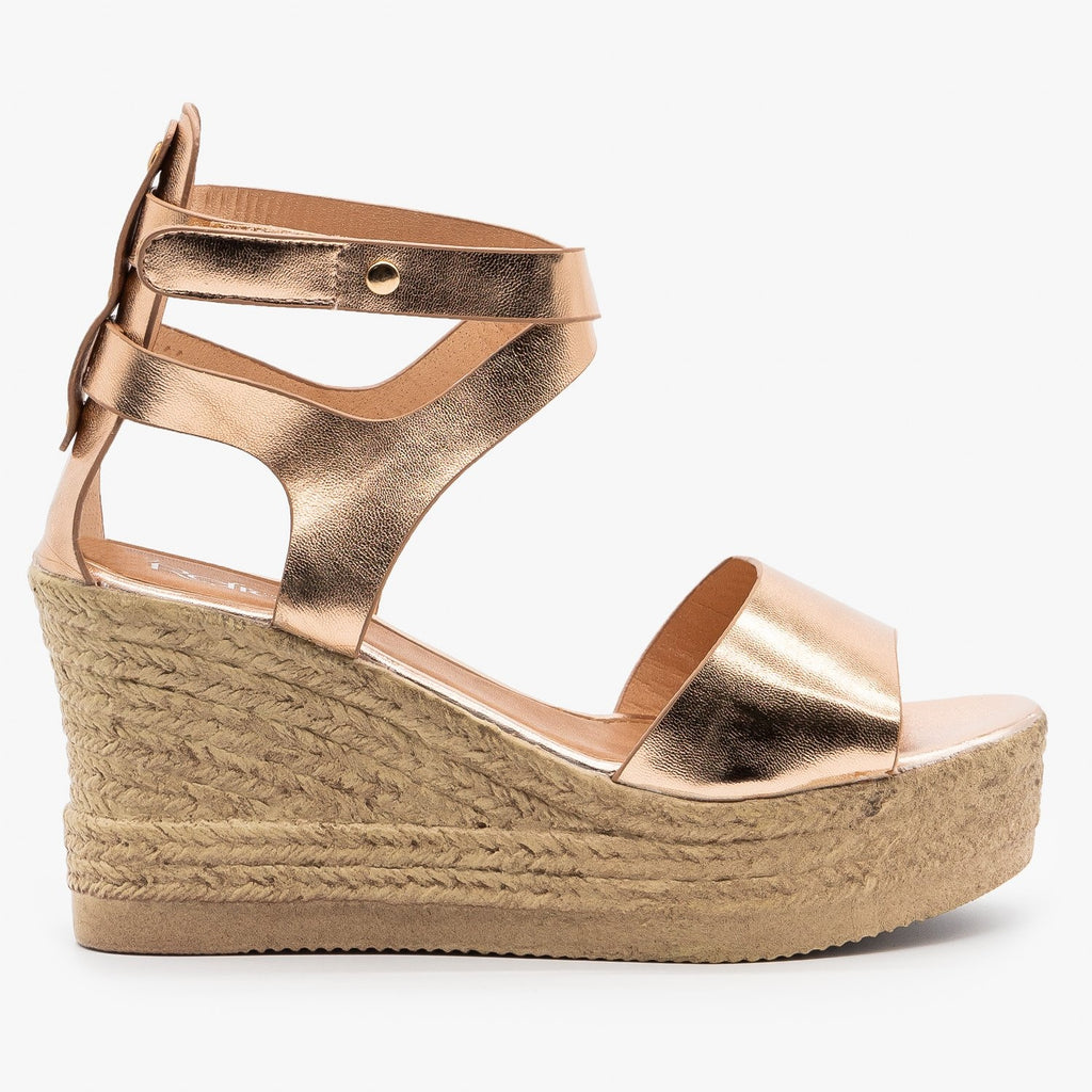 Womens Ankle Wrapped Espadrille Wedge Sandals - Refresh - Rose Gold / 5