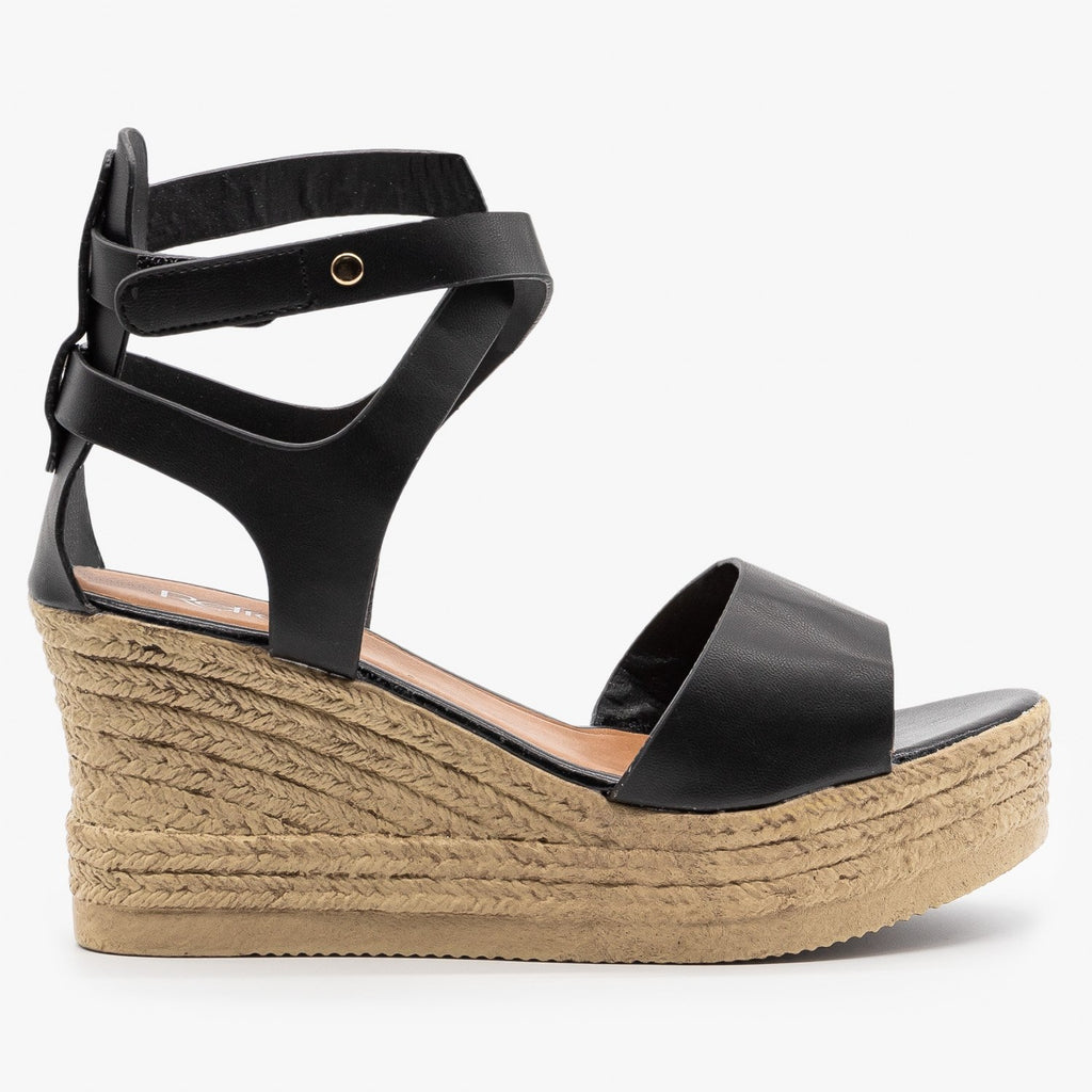 Womens Ankle Wrapped Espadrille Wedge Sandals - Refresh - Black / 5