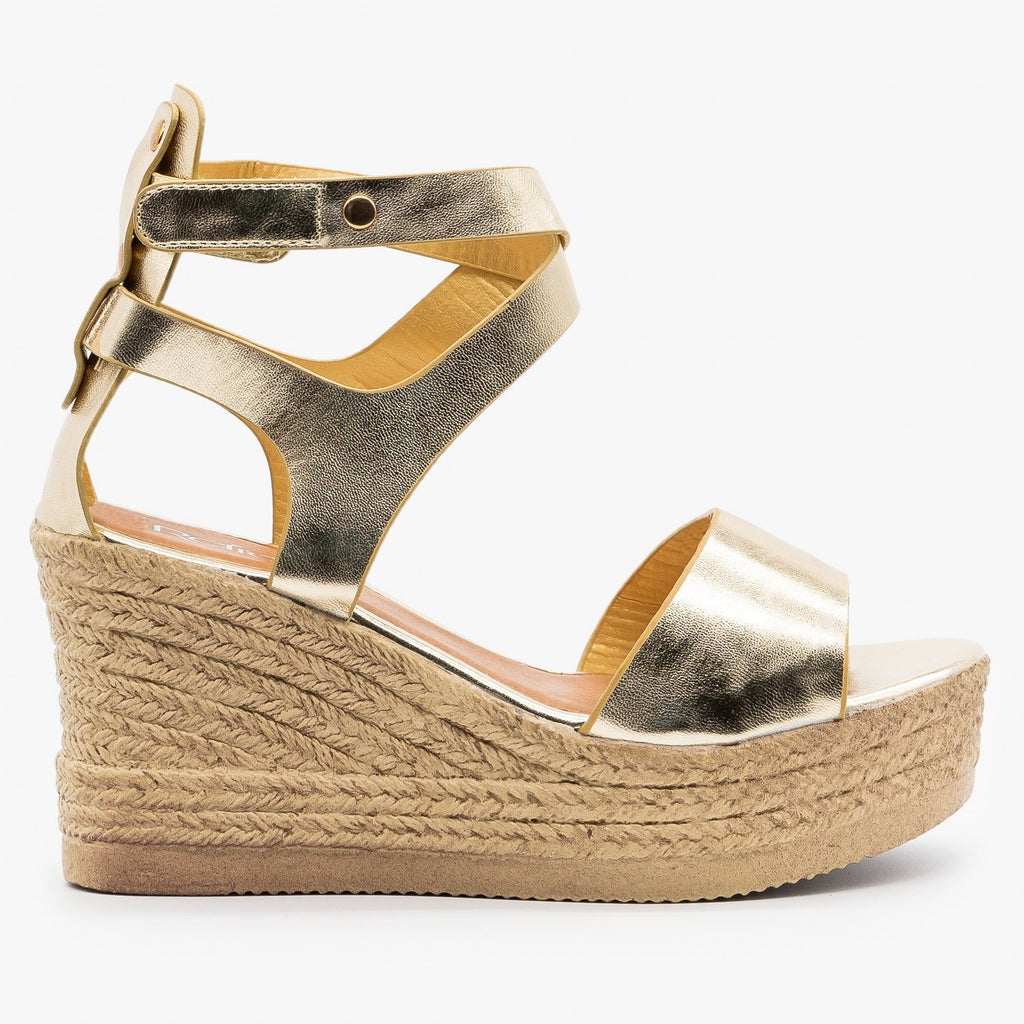 Womens Ankle Wrapped Espadrille Wedge Sandals - Refresh - Champagne / 5