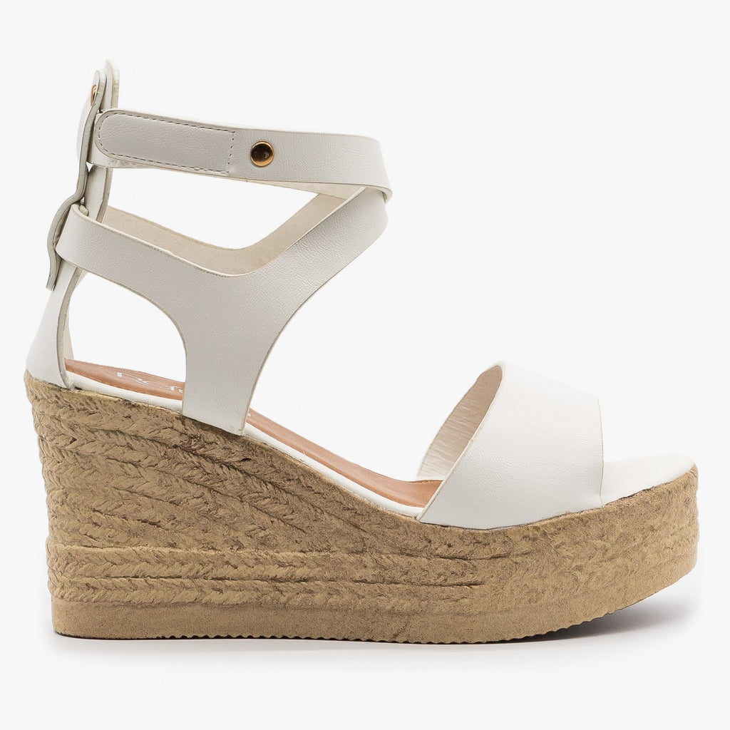 Womens Ankle Wrapped Espadrille Wedge Sandals - Refresh - White / 5