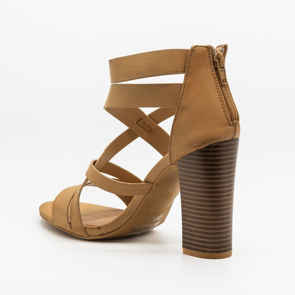 Womens Assymetrical Strappy Block Heels - Bamboo Shoes
