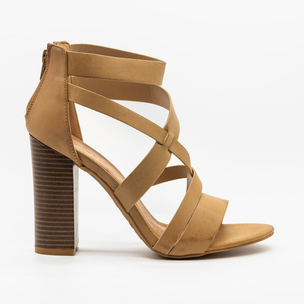 Womens Assymetrical Strappy Block Heels - Bamboo Shoes - Stone / 5