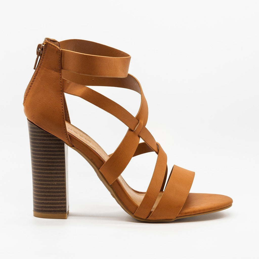 Womens Assymetrical Strappy Block Heels - Bamboo Shoes - Tan / 5